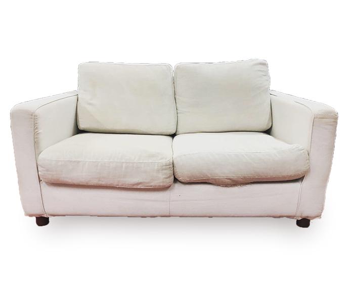 divano combai prima del restauro fronte